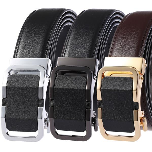Nuevo Cinturón automático Hebilla 2019 Cinturones de cuero real Cinturones de correa de cintura para hombre Cuero de vaca masculina para hombres Pantalones vaqueros Use cinturones de cuero 110-130 cm