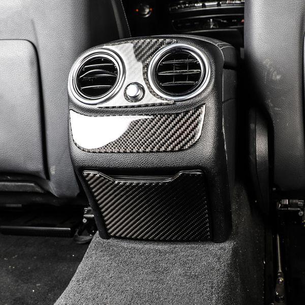 For Mercedes C Class W205 GLC Carbon Fiber Rear Storage Box Panel Cover Case Interior Trim Frame Emblem Sticker Decal