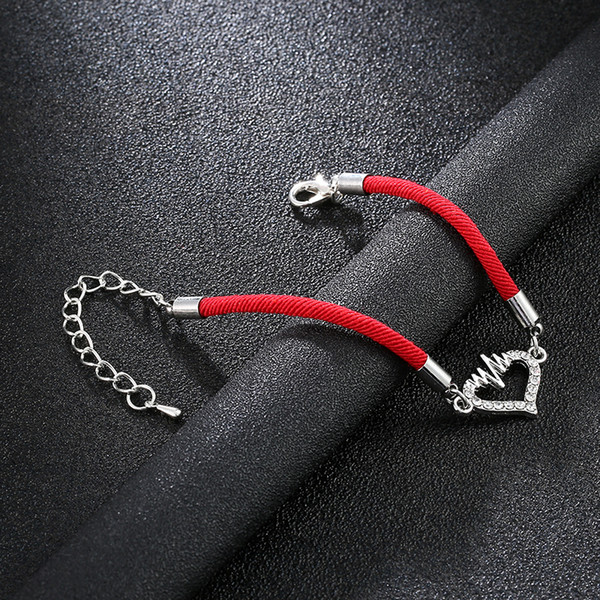 Fashion simple ECG heart charm lucky red rope bracelet love heartbeat adjustable string line wave lucky bracelet