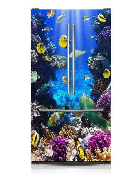 Fridge Vinyl Sticker Seaworld Tropical Fishes Self-Adhesive Vinyl Refrigerator Decal / Fridge Wraps / Refrigerator Wrap/Dishwasher Sticker