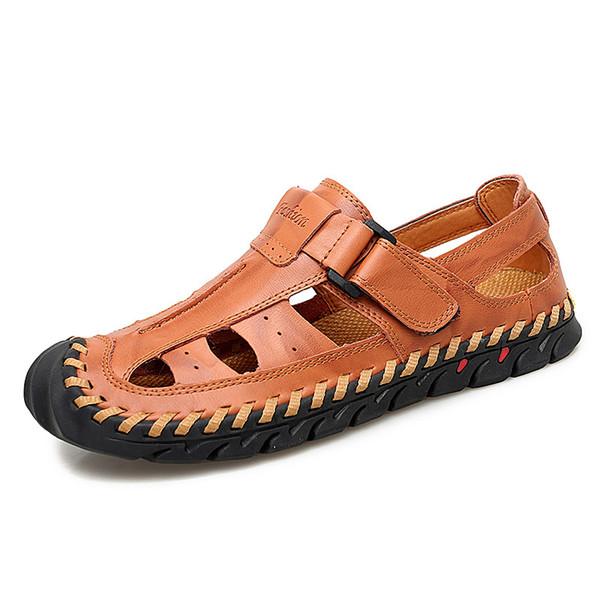 Hommes En Plein Air Sandales En Cuir Véritable Rome Style Hommes D'été Chaussures Casual Grande Taille Sandales Gladiator Pour Hommes Loisirs Plage Chaussures