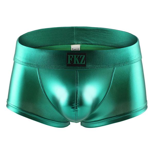 Men Boxer Shorts Sexy Male Low Rise PU Leather U Bulge Underwear Gay Party Club Boxers Shorts Bikini Underpants Cueca