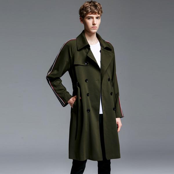 OLN Hommes Manteaux Automne Hiver Hommes Long Style Mâle Coupe-Vent De Mode Manteau Casual Double Poitrine Réglable Taille Homme Tranchée