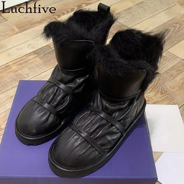 Siyah Ayakkabı Kadın On Luchfive Şerit Yün Kış Boots Yuvarlak Burun Düz Ayakkabı Kadınlar Pist Beyaz Bilek Boots Kayma