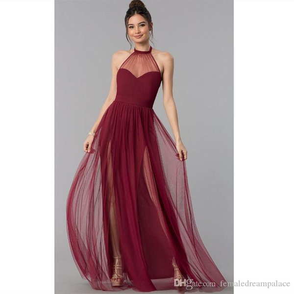 2019 Cheap Black Organza Prom Dresses Custom Halter Floor Length Backless Evening Gowns Sheer Neck Plus Size Party/Cocktail Dress