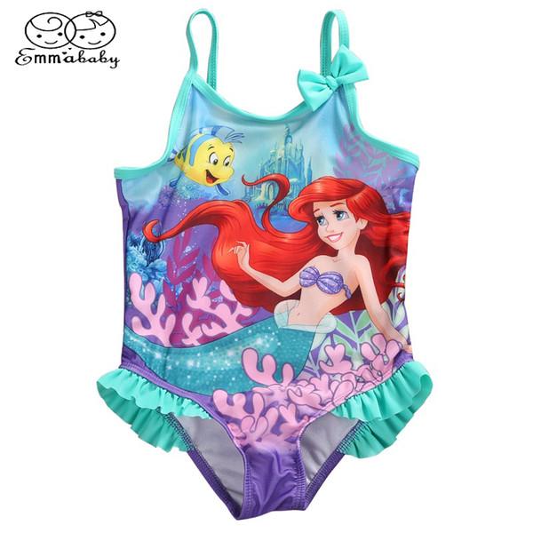 Emmababy Kids Baby Girls Little Carnoot Mermaid Costume Bikini Ruffled Swimwear Traje de baño Traje de una pieza