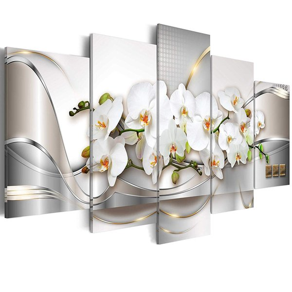 Canvas Wall Art Butterfly Orchid Flowers Painting White Floral Prints Picture Home Living Room Decor Framed Art 5 Pieces
