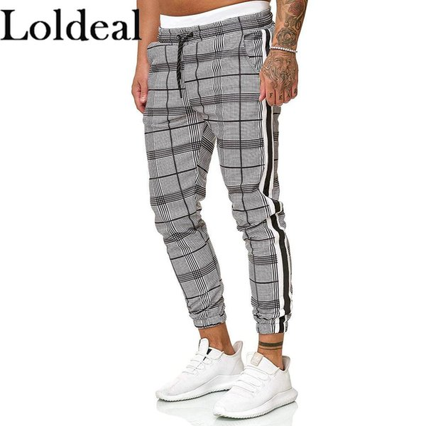 Loldeal hommes Plaid Joggings Mélange Coton respirant Slim Fitness confortable