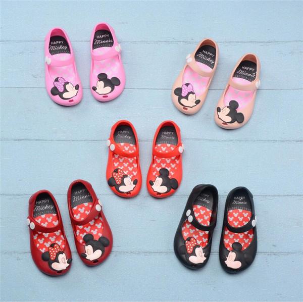 Crianças Sapatos Mini Sandálias De Grife Melissa Dos Desenhos Animados Antiderrapante Brethable Buracos Sapatos Geléia Macia Rainbow Sandálias Do Bebê Meninas Sapatos de Praia A61301
