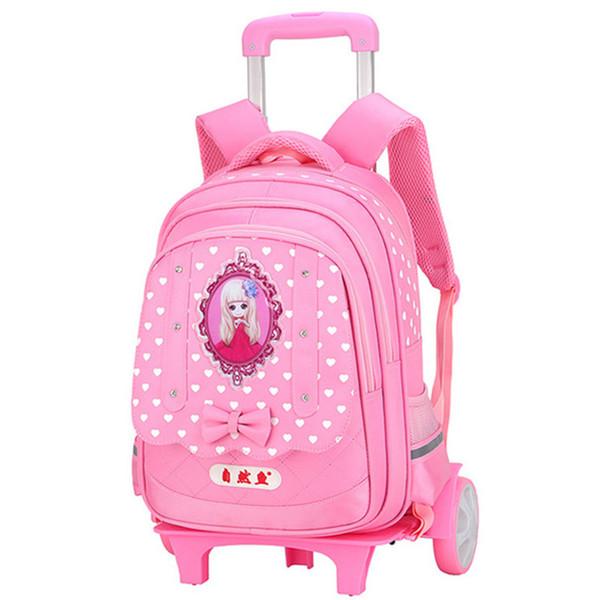 Children 2/6 wheel Trolley schoolbag waterproof kid Backpack bags princess design Orthopedic School Bag teenagers Girl travel luggage
