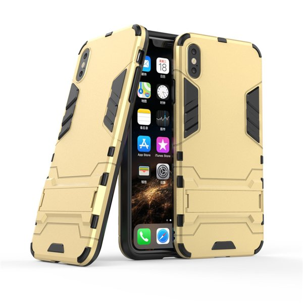 Case For iPhone XS Max X XR 8 Plus 7 6s Cover PC+Silicone 3D Shield Iron Man Anti Shock Proof Kickstand Back Caver For Samsung S10 PLUS S10E