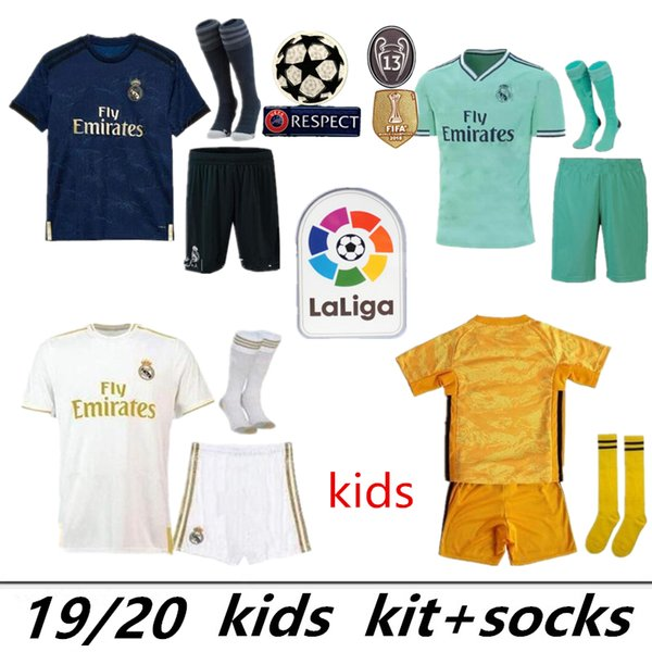 kits para niños camiseta de fútbol del Real Madrid 2019 PELIGRO MORATA MARCELO SERGIO KROOS BENZEMA ISCO KIDS 19 20 set camiseta de portero para niños