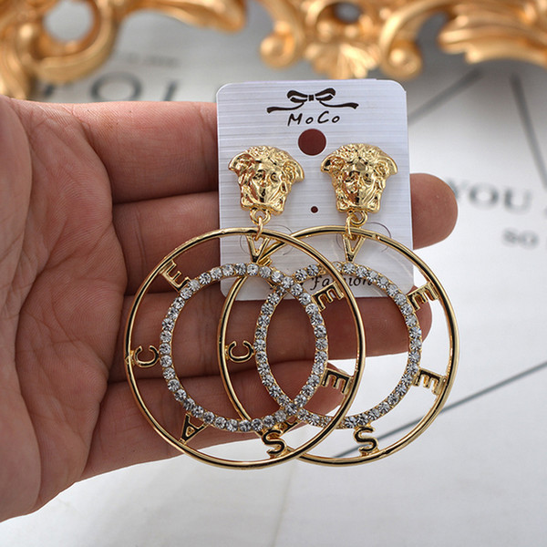 Metal Lion Head Stud Earring Women Vintage Lion Head Letter Earring Gold Silver Fashon Jewelry Accessories for Gift Party