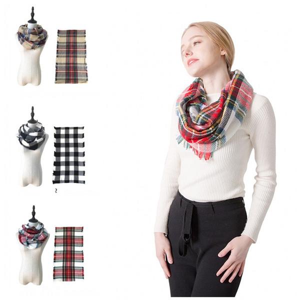 Sellling caliente Retro Plaid Scarf Lattices Impresiones Multi Collares Lady Collares Bufandas simuladas de cachemira Fit Winter 10 89jh E1
