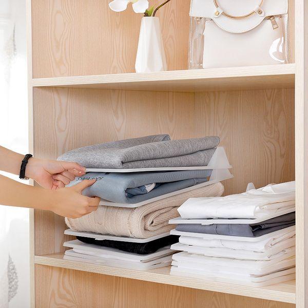 best selling Folding Board Clothing Organization Shirt Travel Closet Drawer Stack Organizer Storage Cloth Boards Storage Folder LX2351