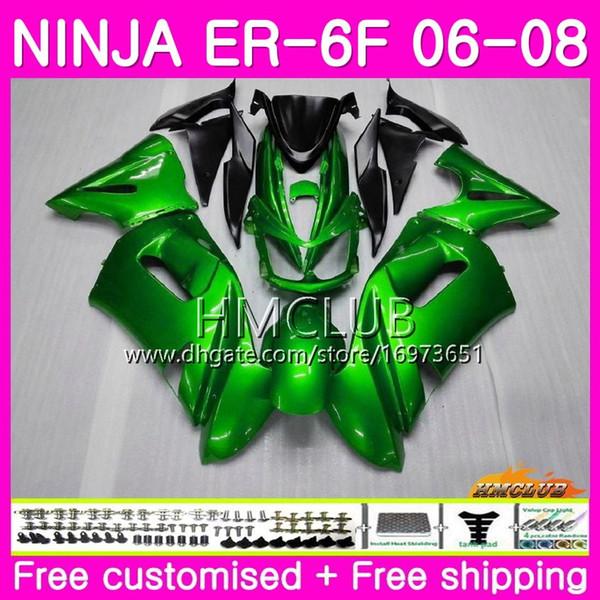 Body For KAWASAKI NINJA 650R ER6 F 650 R ER6F 06 07 08 Kit 47HM.13 Ninja650R ER-6F 06 08 ER 6 F ER 6F 2006 2007 2008 gloss green Fairing