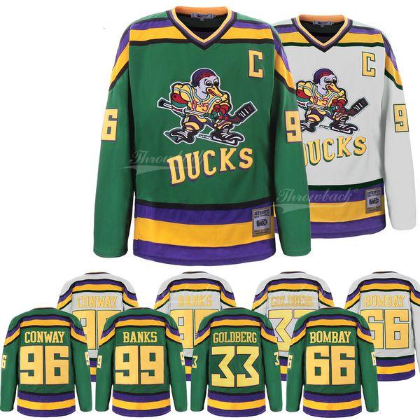 M L XL,XXL Mighty Ducks Movie Jersey 96 Charlie Conway Hockey White Jersey S
