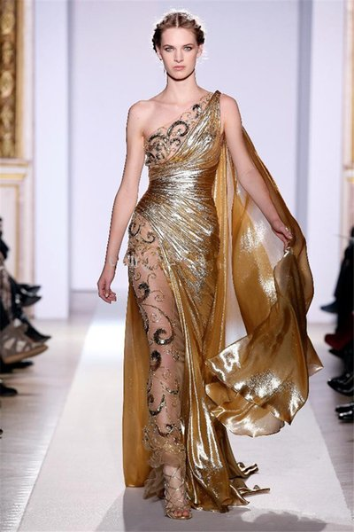 Una sirena lunga d'oro una spalla con applicazioni di promenade d'epoca sfarzose abiti da cerimonia Zuhair Murad Haute Couture Appliques Abiti da sera