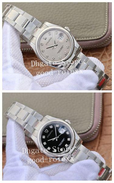 36 millimetri Uomo Nero Argento Dial Eta 2836 Automatic Watch GM fabbrica 904L acciaio lunetta liscia perpetue 126200 Orologi Uomini polso 116201