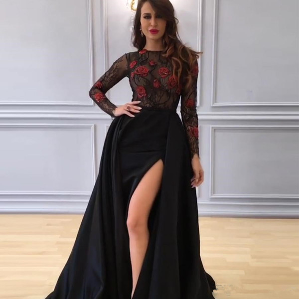 2019 Arabic Sexy Black Prom Dresses Long Sleeve See Sheer Lace Top with Red Rose High Split Sweep Train Formal Wear Yousef Aljasmi