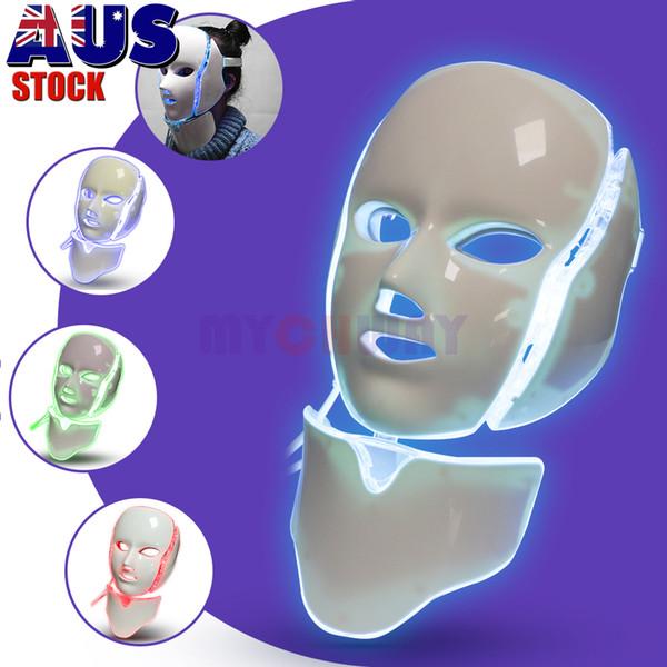7 Cores Fótons Face da beleza máquina LED Máscara Facial Neck Com microcorrentes para clareamento da pele Dispositivo Expedição DHL grátis