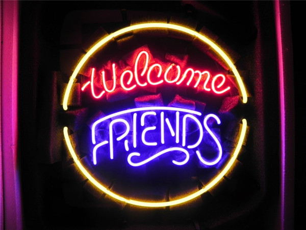 New Star Neon Sign Factory 16X16 Inches Real Glass Neon Sign Light for Beer Bar Pub Garage Room Welcome Friends.
