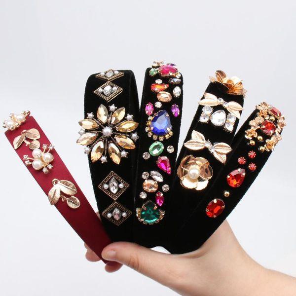 Fascia del raso CN Accessori per capelli barocco Jeweled Pearl Hairband per le donne ragazze di cristallo strass lunetta elegante velluto