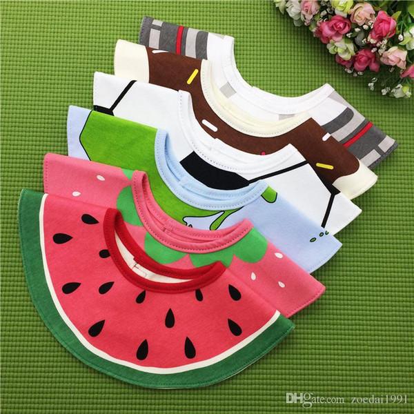 Muslinlife Nouveau modèle de fruits ronds Série bavoirs bébé, Burp Waterproof Bibs nouveau-nés Chiffons de Coton Pour Filles Garçons Pour 0-3years