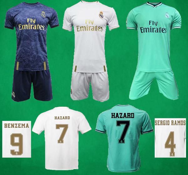 19 20 Pantaloncini da calcio Real Madrid Home Away 3 ° kit da calcio per portiere HAZARD BENZEMA RANALDO ASENSIO Maglia da calcio Set da adulto Completo per bambini