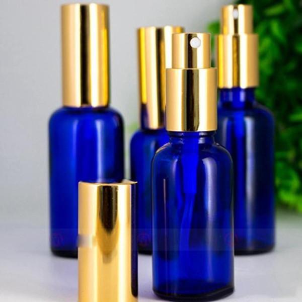 Высокое качество 30 мл опрыскиватель флакон духов синий пустой стакан распылитель бутылки с золотой крышкой бесплатная доставка 330 шт. / Лот