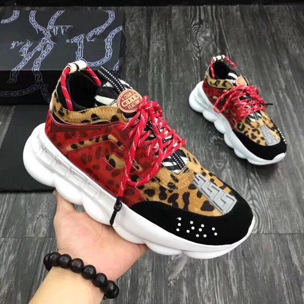Qualidade máxima! CHAIN REACTION Amor sneaker mulheres homens vermelho preto ght cadeia de peso ligado designer de moda esporte Sapatos Casuais oly18081702