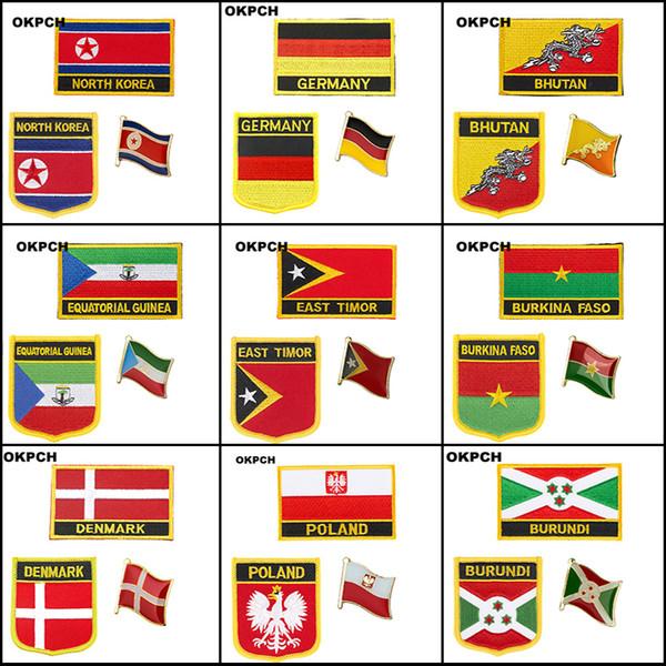Poland Bolivia Belize Botswana Bhutan Burkina Faso Burundi North Korea Equatorial Guinea Denmark Germany East Timor Iron on Patches Badges