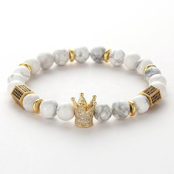 201908 8mm Naturstein Crown Perlenarmband KingQueen Luxus Charme Paar Schmuck Justierbare Armbänder für Frauen Männer Armreif Geschenk M301F