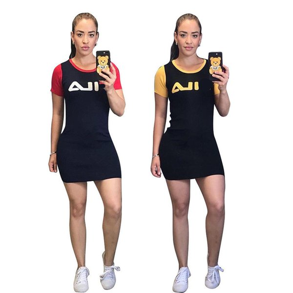 S-3XL Brand Women FIL Dress Long T shirt Luxury Designer Summer Mini Skirt Bodysuit Sports Bodycon Skirts Sportswear Slim Dresses C52803