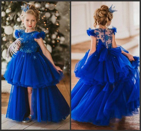2019 New Royal Blue Hi Lo Princess Flower Girl Dress For Wedding Satr Appliqued Beaded Kids Little Girl First Birthday girls pageant dresses