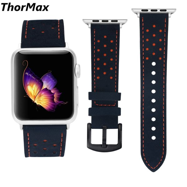 100% Genuine Leather for Apple Watch 4 40mm 44mm Band Strap for iwatch Series 4 Series 3 Series 2/1 Blue Orange Spots 42MM 38MM