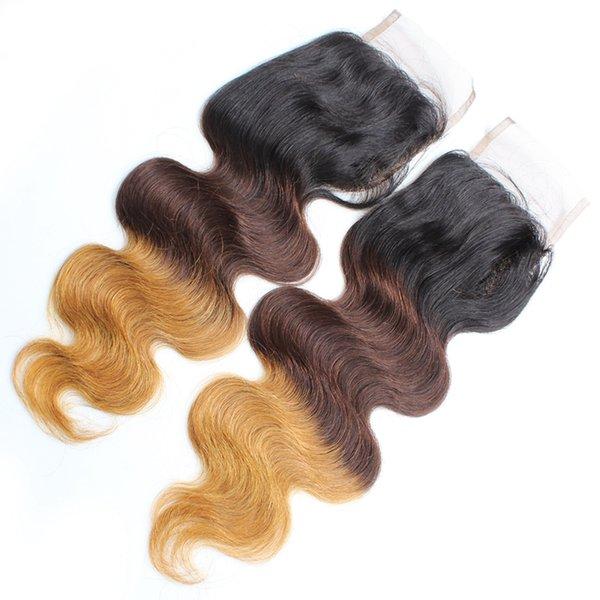 Burbuja Cabello Europeo Y Americano rizado Rizado 1B 4 * 4 Ombre body wave Mujeres Cabello humano Bloqueo de cabello verdadero Cuerpo Wave Cierre