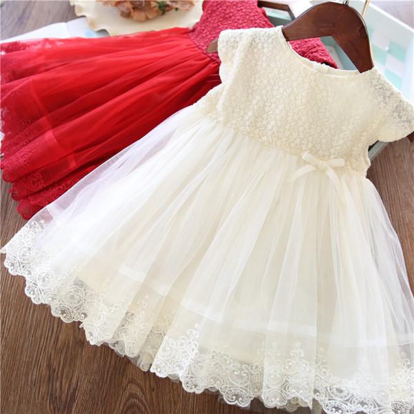 Lace Girl Party Dress Vêtements pour enfants Princesse enfants Robes pour les filles Porter 2 3 causales 5 6 7 ans Blanc Rouge Robe Robe