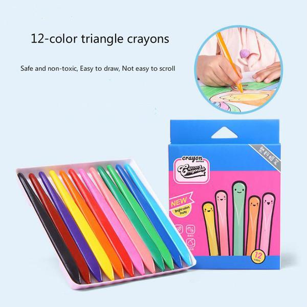 top popular Wholesale 12 color safe non-toxic triangle crayon children plastic crayon student color brush set art supplies 2020