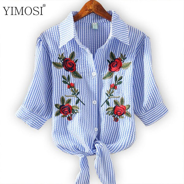 YIMOSI Women Blouse Embroidery Shirt 2019 Korean Short Sleeve Flower Embroidery Blouse Women Summer Top Plus Size Female