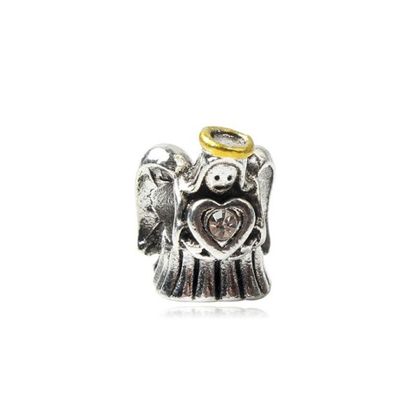 Prey Angel With Heart Crystal Charm Bead Big Hole Fashion Women Jewelry European Style For Pandora Bracelet Necklace-P