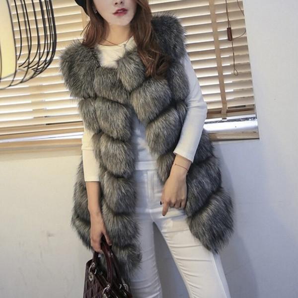Women Winter Faux Fur Coat Vest Casual Warm Sleeveless Overwear Faux Fox Fur Vest Winter Jacket Plus Size