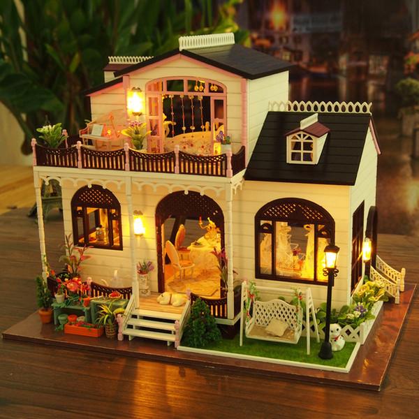 Bowness Villa Möbel Puppenhaus Miniatur Haus Modell DIY Kit Mit Led-leuchten Holz Spielzeug Puppen Haus Handgemachtes Geburtstagsgeschenk