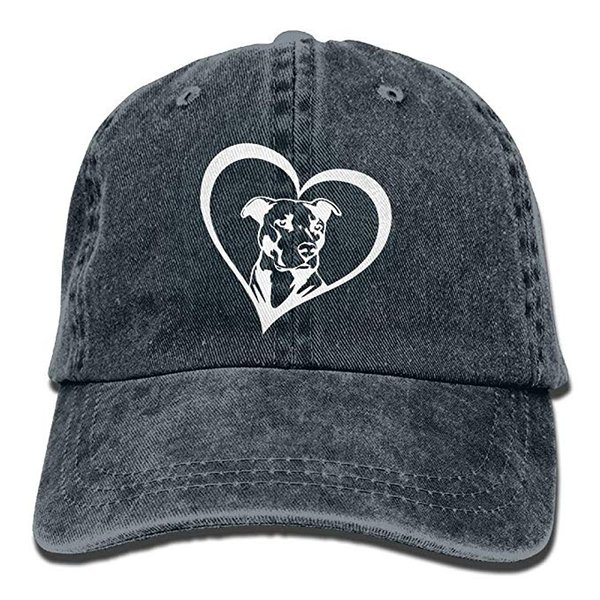 2019 New Custom Baseball Caps Print Hat Pit Bull Heart Mens Cotton Adjustable Washed Twill Baseball Cap Hat