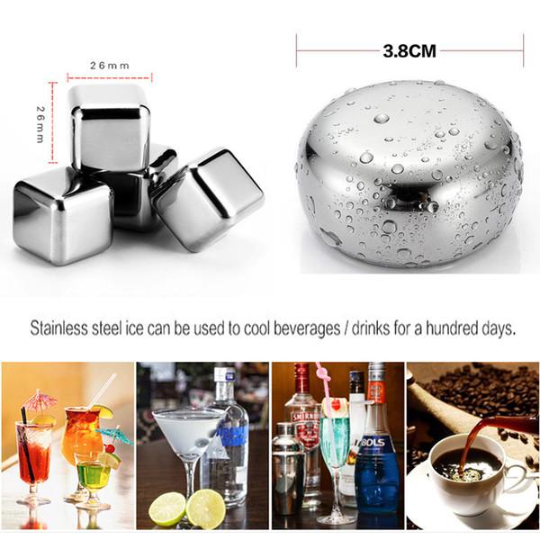 Quadrato rotondo Whisky Stone con clip bar accessorio refrigeratore di vino in scatola 304 in acciaio inox Ice Cube Metal Drink Cooler Ice Cube DBC VT0353
