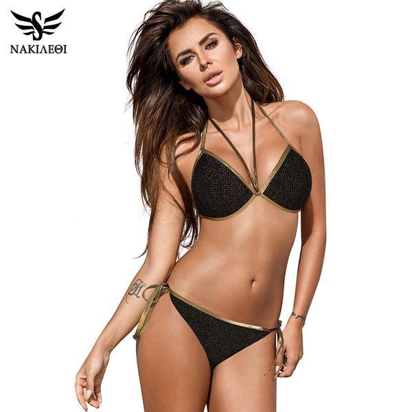 Nakiaeoi 2019 Newest Bikinis Women Swimsuit Sexy Push Up Bikini Set Plus Size Swimwear Halter Top Bathing Suit Swim Beach Wear Y19062901