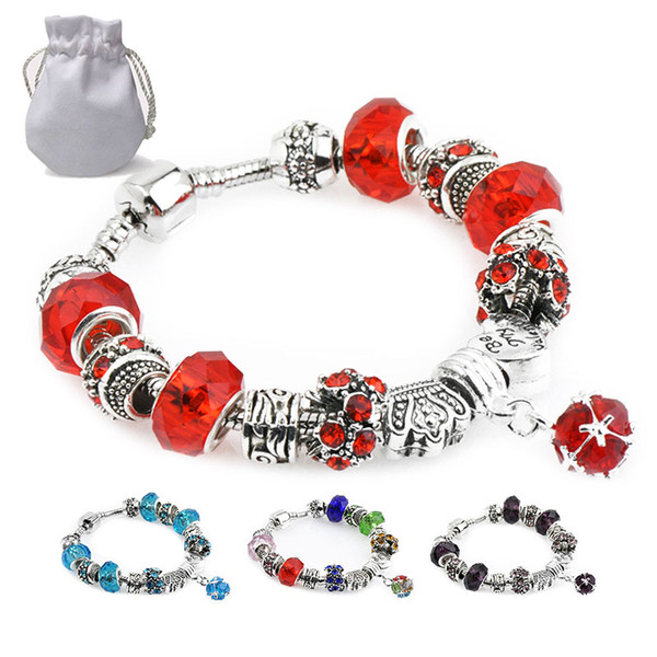 New Faceted Murano Glass Crystal Beads Charms Bracelets Fit Pandora Logo Women CZ Gemstone Pendant Silver Bangle Female 11 Colors P137