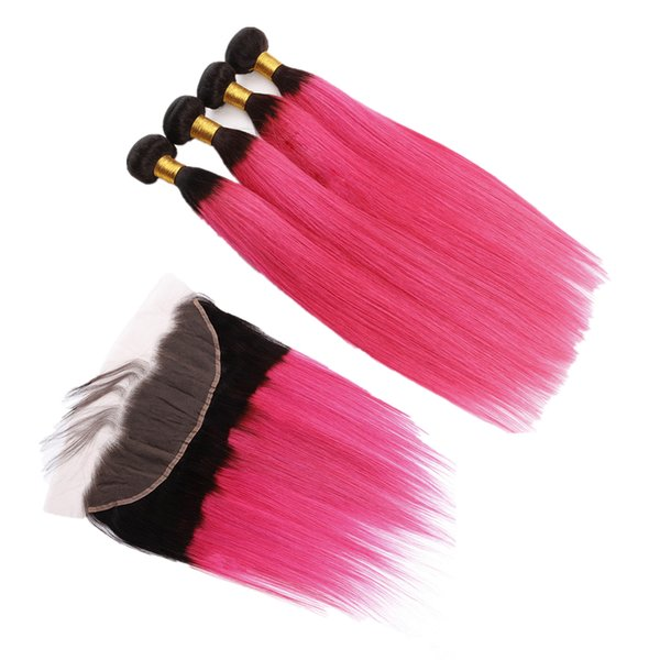 Ombre Hot Pink Color Ear To Ear Frontal With Hair Weaves Dark Roots 1B Pink Straight Hair 4Bundles With Lace Frontal
