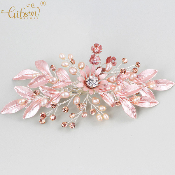 Romantic Bridal Barrette Girl Dress Hair Accessories Freshwater Pearls Headpiece Flower Charm Wedding Hair Side Clip