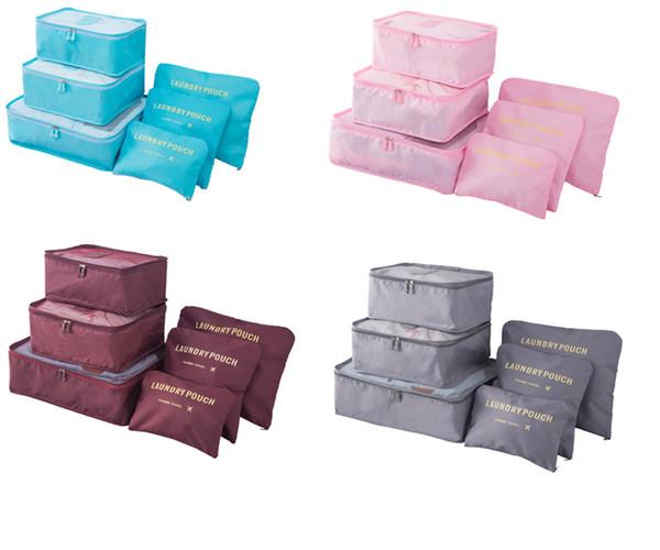Moda NewestDouble Zipper Sacos de Viagem À Prova D 'Água Das Mulheres Dos Homens Nylon Bagagem Embalagem Cube Bag Underware Sutiã Saco De Armazenamento Organizador 6 pcs set